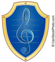 Shield with treble clef