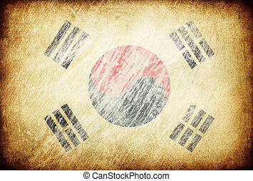 Grunge rubbed flag series of backgrounds. South Korea.