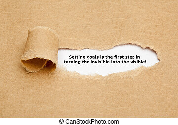 Setting Goals Quote Typewriter - Setting goals is the first...
