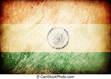 Grunge rubbed flag series of backgrounds. India.