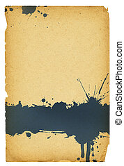 Ink stain on old paper with torn edges. Isolated on white,...