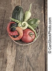 Some fresh vegetables in a basket