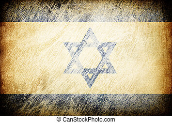 Grunge rubbed flag series of backgrounds. Israel.