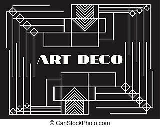 Art deco geometric frame. Retro background in style 1920's,...