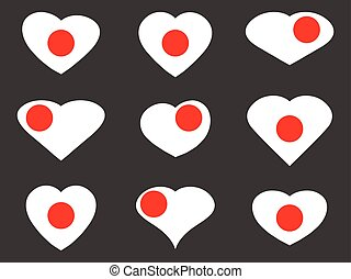 Japan. Heart with a Japanese flag. Vector illustration.