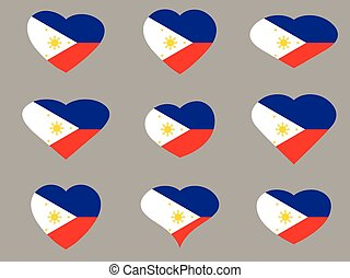 Hearts with the flag of Philippines. I love the Philippines....