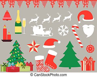 Christmas symbols in a flat style icons. Vector illustration