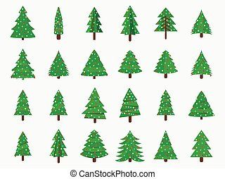 Christmas trees in a flat style. Decorated Christmas Tree. Fir trees isolated on white background. Vector icons.