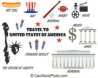 Welcome to USA. Symbols United States. Set of icons. Vector.
