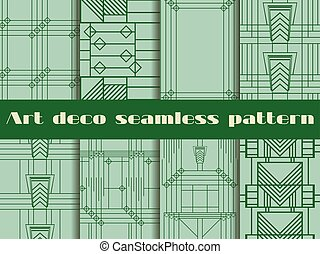 Art deco seamless patterns. The pattern of lines and...