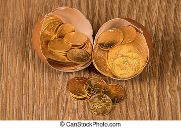 Pure gold coins in egg shell illustrating nest egg -...