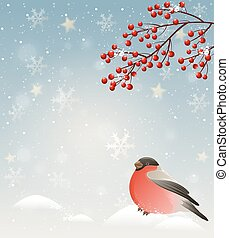 Winter landscape with bullfinch in snow and red berries....