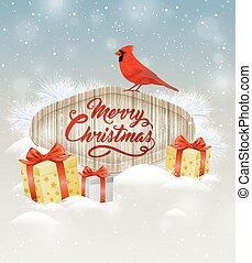 Background with gifts and cardinal bird. - Christmas vector...