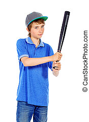baseball bat - Portrait of a boy teenager holding baseball...