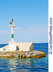 lighthouse greece island in   mediterranean  cruise