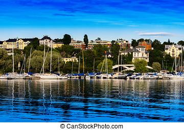 Oslo yacht club near coast background hd