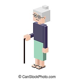 lego silhouette elderly woman with walking stick vector...