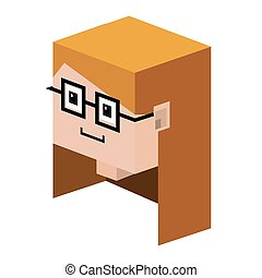 head lego girl with blonde hair and glasses vector...