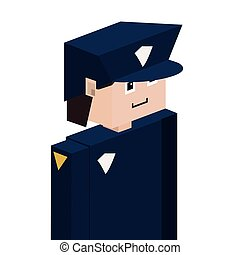 lego silhouette with policeman half body vector illustration