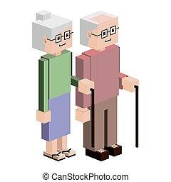 lego elderly couple with walking stick