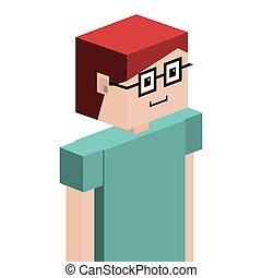 lego child half body with t-shirt and glasses vector...