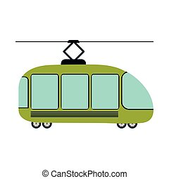 colorful silhouette with trolley car