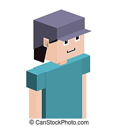 lego child half body with t-shirt and cap vector...