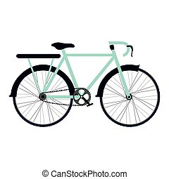 colorful silhouette with bicycle and rack