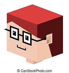 head lego child with red hair and glasses vector...