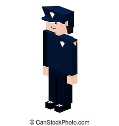 lego silhouette policeman with uniform blue vector...