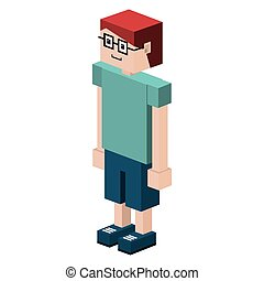 lego child with t-shirt and shorts and glasses vector...