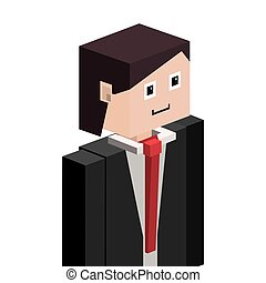 lego silhouette half body man with formal suit vector...