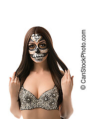 Santa Muerte. Brunette with creative face art - Santa...