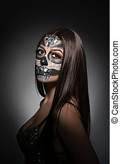 Santa Muerte. Pretty young woman with face art - Santa...