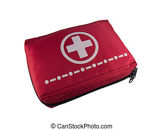 Red first aid kit isolated on white