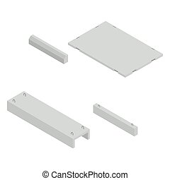 Set the iron concrete products isometric, vector...
