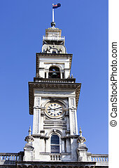Dunedin City Clock - Dunedin Town Hall tower with a clock...