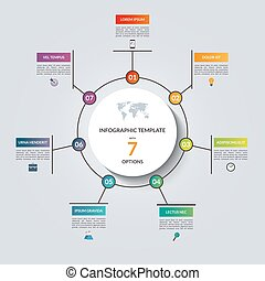 Linear infographic circle template with 7 options. Vector...