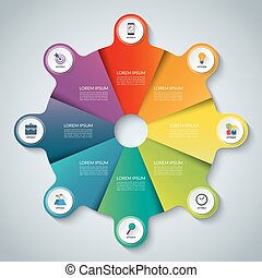 Vector infographic elements. Circle business template with 8...