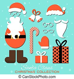 Merry Christmas. Set of various Santa hats, moustache, beards, gifts, boots, gloves and bells isolated on blue background.