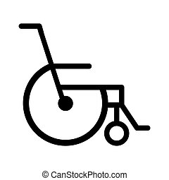 black silhouette abstract reclining wheelchair flat icon...