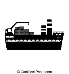 black silhouette tanker cargo ship with containers
