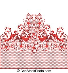 red abstract pattern with butterflies and flowers