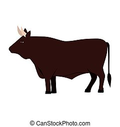 color image with brown bull vector illustration