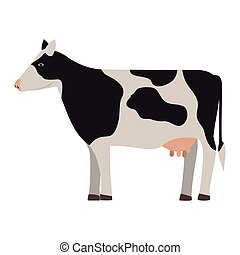 silhouette colorful cow with spots vector illustration