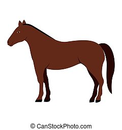 silhouette colorful with brown horse vector illustration