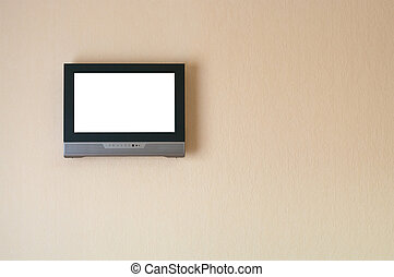Liquid-crystal television receiver on wall Isolated white...