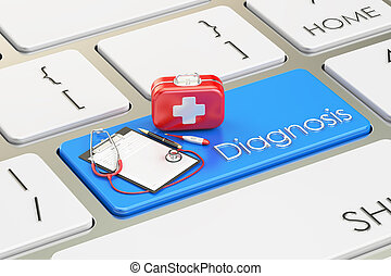 Diagnosis button, blue key on  keyboard 3D rendering
