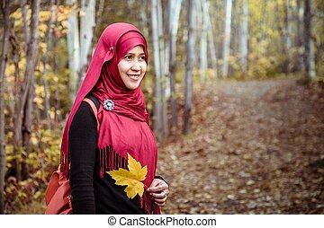 femme, nord, musulman, automne, pendant, amérique