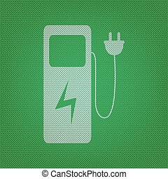 Electric car charging station sign. white icon on the green...